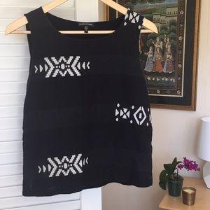 Eileen Fisher Black Aztec Pattern CottonTank Top